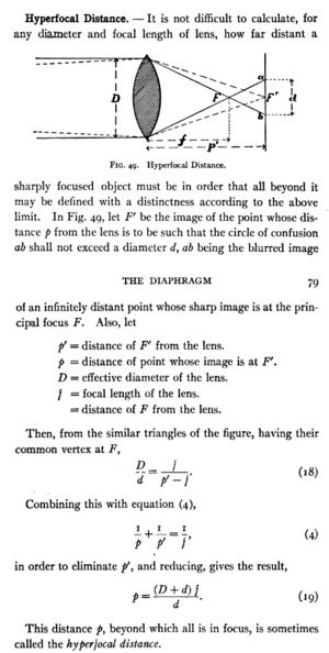 Hyperfocal distance - Wikipedia, the free encyclopedia