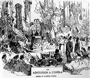 Fiametta - Lithograph of rehearsals at the Paris Opera of the Saint-Léon/Minkus Fiametta, Paris, 1864