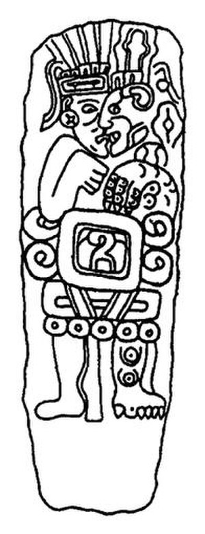 "Nagual - A pre-Columbian Chatino stela possibly depicting a nagual transforming into a jaguar. His name is inscribed in Zapotec glyphs on his abdomen and translates to ""5 Alligator""."