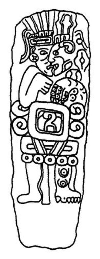 """Nagual - A pre-Columbian Chatino stela possibly depicting a nagual transforming into a jaguar. His name is inscribed in Zapotec glyphs on his abdomen and translates to """"5 Alligator""""."""