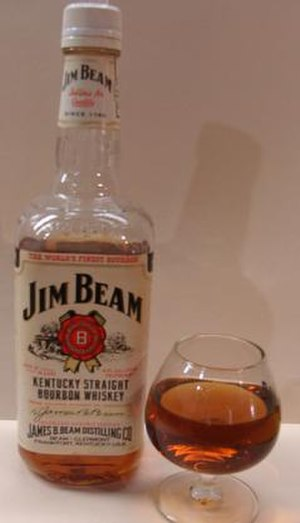 A bottle of Jim Beam whiskey.