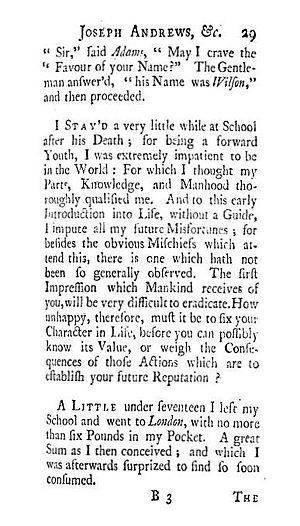 Joseph Andrews - Wilson begins his tale in the first edition of 1742.