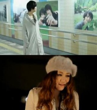 Kono Yoru o Tomete yo - Top: fashion model Kana against the relationship posters in a subway Bottom: Juju as she performs the song in the music video