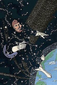 Starman character in space over the Earth