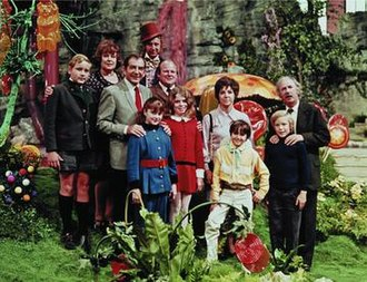 Willy Wonka & the Chocolate Factory - The main cast. Back row (left to right): Michael Bollner (Augustus Gloop), Ursula Reit (Mrs. Gloop), Gene Wilder (Willy Wonka) Front row (left to right): Leonard Stone (Sam Beauregard), Denise Nickerson (Violet Beauregard), Roy Kinnear (Henry Salt), Julie Dawn Cole (Veruca Salt), Dodo Denny (Mrs. Teevee), Paris Themmen (Mike Teevee), Peter Ostrum (Charlie Bucket), Jack Albertson (Grandpa Joe)