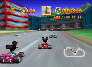 Mickey's Speedway USA - A screenshot of the Nintendo 64 version showing a race, with the player controlling Mickey Mouse.