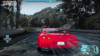 Need for Speed: World - A screenshot of early gameplay, when the game was known as Need for Speed: World Online. World combines elements of role-playing with illegal street racing.