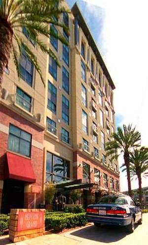 "Locations in Veronica Mars - The exterior of the Hilton San Diego with ""Neptune Grand"" signs. The San Diego convention center can be seen in the distance."