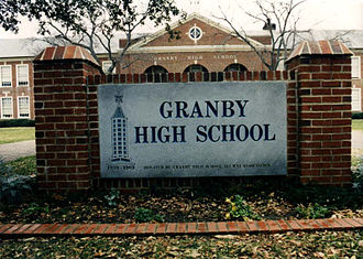 Granby High School - Plaque in front of Granby High.