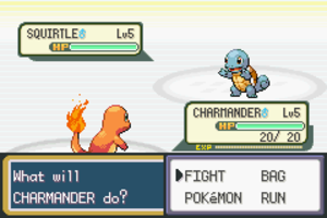 Gameplay of Pokémon - In a battle scene in Pokémon FireRed Version, the Pokémon at the top right of the screen is the opponent's; the Pokémon at the bottom left is the player's. The player's options are shown at the bottom right.
