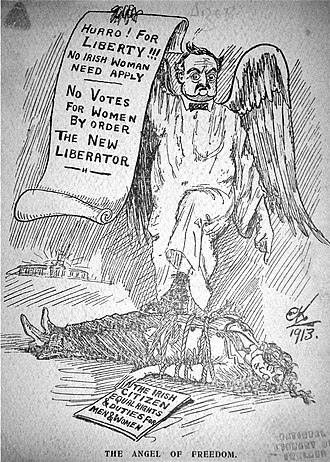 John Redmond - John Redmond satirised by the suffragette movement in 1913. Redmond had said he would never support female suffrage under any circumstances.