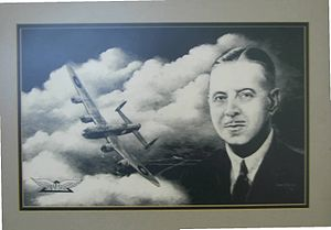 Roy Chadwick - A portrait of Chadwick with an Avro Lancaster and the Avro logo is displayed in the Renold Building at the University of Manchester