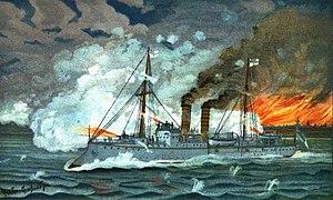 SMS Iltis - An illustration of Iltis firing during the Boxer Rebellion