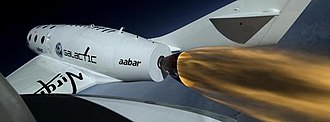 SpaceShipTwo - A view of the firing of SpaceShipTwo's rocket engines during its first powered flight in April 2013.