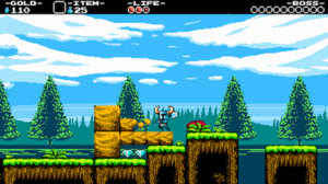Shovel Knight - Pre-release screenshot of Shovel Knight, featuring graphics inspired by various 8-bit games.