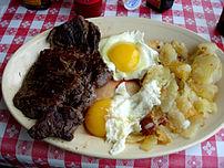 It is not unusual to have steak for breakfast.