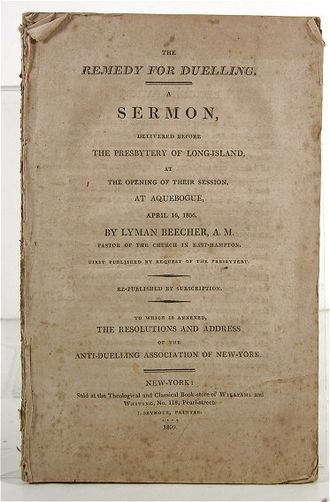 "Lyman Beecher - Cover of ""The Remedy for Dueling,"" a pamphlet with the text of his 1807 sermon"