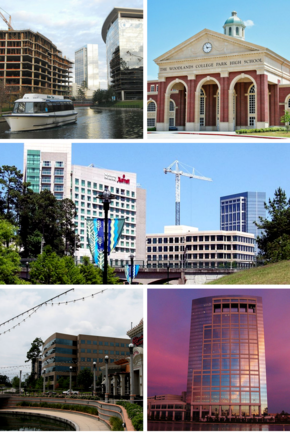 From top, left to right: The Woodlands Waterway, The Woodlands College Park High School, The Woodlands downtown skyline, The Woodlands Town Center, and Allison Tower
