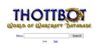 Thottbot unofficial World of Warcraft plug-in and database website