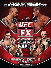 A poster or logo for UFC on FX: Browne vs. Bigfoot.