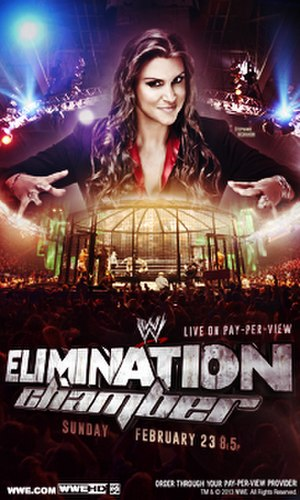 Elimination Chamber (2014) - Promotional poster featuring Stephanie McMahon above the Elimination Chamber