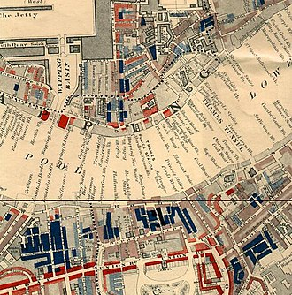 "Wapping - Part of Charles Booth's poverty map showing Wapping in 1889, published in Life and Labour of the People in London. The red areas are ""well-to-do""; the blue areas are ""Intermittent or casual earnings"", and black areas are the ""lowest class...occasional labourers, street sellers, loafers, criminals and semi-criminals""."