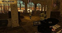 A man with carrying a video game walks behind two soldiers carrying guns into a large, desolate cathedral.