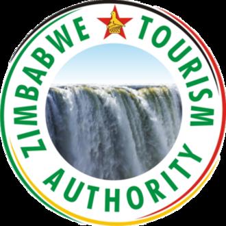 Tourism in Zimbabwe - The logo of the Zimbabwe Tourism Authority showing the Victoria Falls and the Zimbabwe Bird found at Great Zimbabwe.
