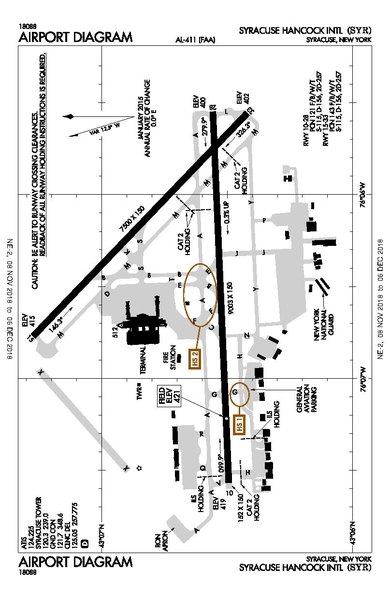 syracuse hancock airport map File Airfield Diagram Of Syracuse Hancock International Airport Pdf Wikipedia syracuse hancock airport map