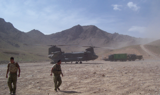 5th Aviation Regiment (Australia) - C Sqn, 5th Aviation Regiment CH-47D landing at an Australian patrol base in the Chora Valley, Afghanistan April 2010.
