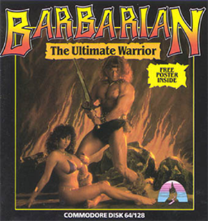Barbarian: The Ultimate Warrior - Commodore 64 box art, featuring Michael Van Wijk and Maria Whittaker