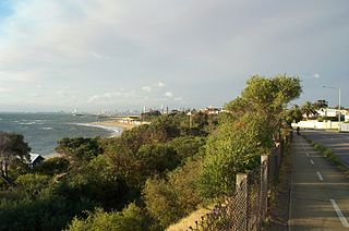 Bay Trail shared use path for cyclists and pedestrians which follows the coastline of Port Phillip Bay through the south-eastern suburbs of Melbourne, Victoria, Australia