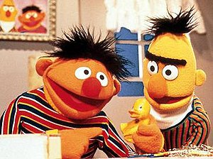 Bert and Ernie - Ernie (left), with his rubber duckie, and Bert (right)