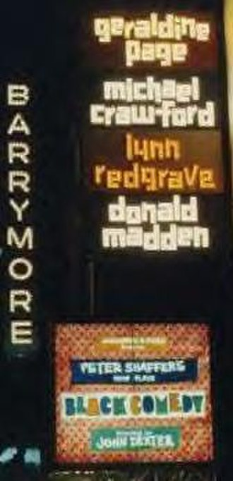 Black Comedy (play) - Marquee for the Original Broadway Production at the Ethel Barrymore Theatre, 1967