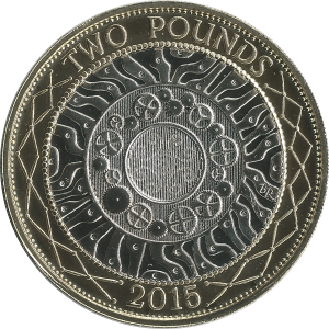Two pounds (British coin) - The original reverse design, by Bruce Rushin