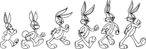 Development of Bugs Bunny - A depiction of Bugs Bunny through the years. First two are Happy Rabbit; third one and on are Bugs Bunny.