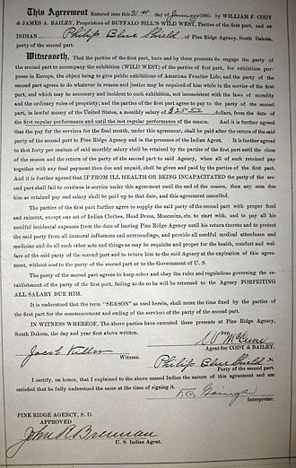 Show Indians - Wild West show contract of Philip Blue Shield, 1906