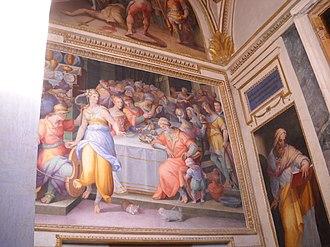 Giovanni Battista Naldini - Image: Dance of Salome Giovanni Battista Naldini 1580 Chiesa della Trinità dei Monti Rome