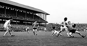 Down and Galway in action in the 1965 National League semi-final