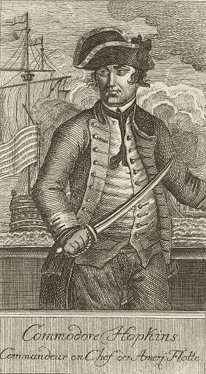 Naval battles of the American Revolutionary War - Commodore Esek Hopkins (French engraving)