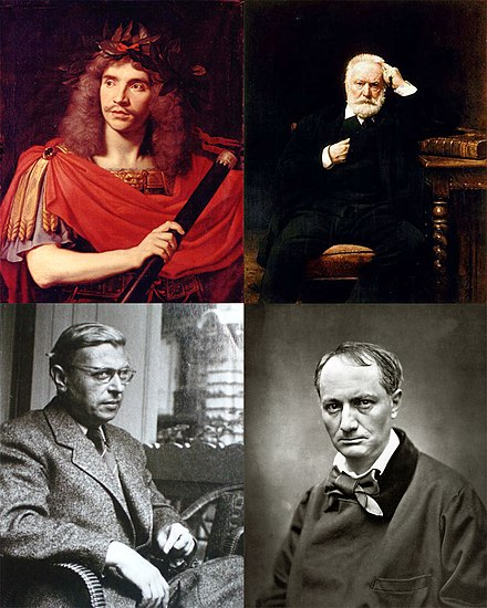 French literary figures. Clockwise from top left: Moliere is the most played author in the Comedie-Francaise; Victor Hugo is one of the most important French novelists and poets; 19th-century poet, writer and translator Charles Baudelaire; 20th-century philosopher and novelist Jean-Paul Sartre. French literary figures.jpg