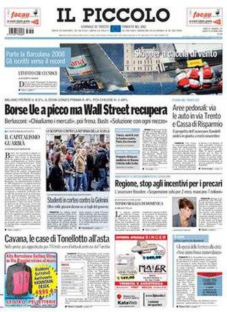 Il Piccolo - Front page (Trieste edition), 11 October 2008