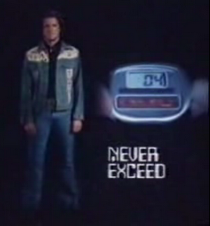 Gemini Man - Partial shot from the opening sequence, showing Ben Murphy as Sam Casey and the countdown digital watch that served as his DNA stabilizer.