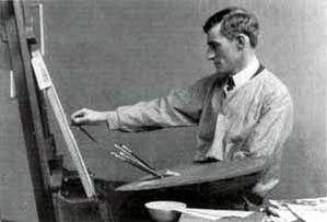 George Matthews Harding - Harding at an easel.