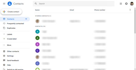 The web version of Google Contacts