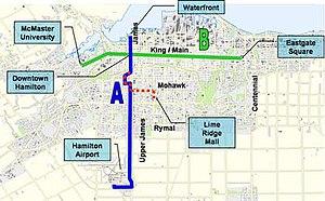 MoveOntario 2020 - Hamilton Rapid Transit proposed corridor.
