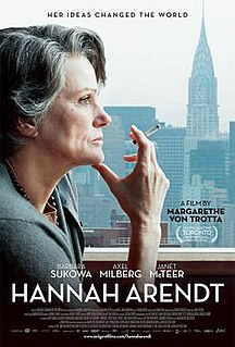 <i>Hannah Arendt</i> (film) 2012 film by Margarethe von Trotta