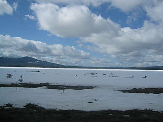 Lassen County, California - Hog Flat Reservoir covered in snow during early April
