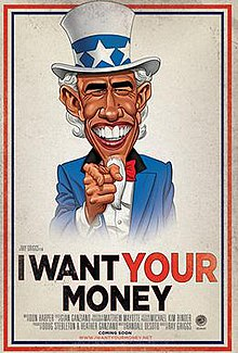 Caricature of United States President Barack Obama wearing an Uncle Sam hat and blue jacket point his right-hand index finger at the viewer above the title of movie.