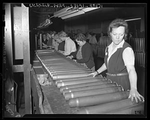 Ammunition - Female ordnance workers inspecting cartridge cases in Los Angeles, 1943